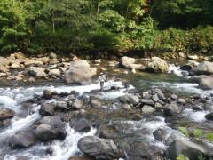 キャンプ場のすぐ脇の実川で岩魚をゲット