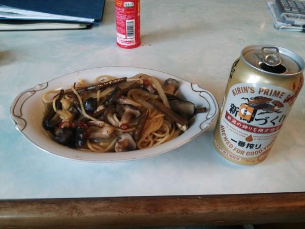 山菜キノコパスタ