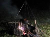 キャンプで囲炉裏鍋