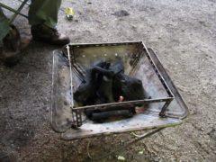 焚き火台で鉄板焼き
