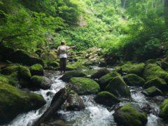 源流の岩魚釣り