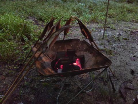 スノーピークの焚き火台で釣った魚を焼く
