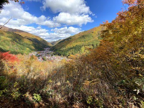 中土合公園展望台から望む檜枝岐村本村
